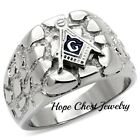 MENS'S SILVER TONE STAINLESS STEEL NUGGET STYLE MASONIC RING SIZE 8 - 13