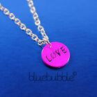 FUNKY LOVE TAG NECKLACE DANCE WEAR RAVE WORD JEWELLERY RETRO DISCO TOKEN KITSCH
