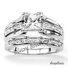 STUNNING PRINCESS CUT CZ STERLING SILVER WEDDING RING SET WOMEN'S SIZE 5-10