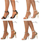 LADIES ANKLE STRAPPY PEEP TOE STILETTO HIGH HEELS BUCKLE PARTY SANDALS SHOE PROM