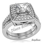 2.65 CT HALO PRINCESS CUT CZ STAINLESS STEEL WOMEN'S WEDDING ENGAGEMENT RING SET