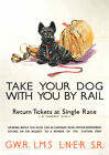 Take Your Dog with Rail Train POster - Vintage Art Print Poster - A1 A2 A3 A4 A5