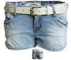 Womens Ladies White Belted American Flag Ripped Turn Up Denim Shorts 6-14‏