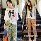 New Women's Floral Prints Pattern Casual Wide Leg Palazzo Loose Pants Trousers