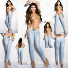 Sexy New Women Blue Skinny Jeans with belt and rivets Size 6/14 UK Inc Belt
