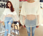 Womens Fashion Crewneck Long Sleeve Transparent Gauze Splice Sexy Shirt R523