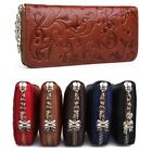 Womens Retro Leather Zip-around Long Wallet Wrislet Clutch Purse Coin Holder