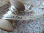 1m Personalised Wedding ribbon IvoryorWhite 9mm wide Personalised with Name&Date