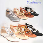 Women's Summer Strappy Thong Flat Zipper Sandal Shoes 2 Style Size 5.5 - 11