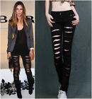 Womens Celeb Style Ripped Skinny Jeans Pants Jeggings Trousers Denim (Stretch)