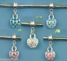 10 Silver Plated Rhinestone Heart Dangle Beads Fit Charm Bracelet M0036