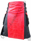 GENUINE LEATHER REVERSIBLE KILT WITH MILITARY SHIRT UNIFORM DIFFERENT CONTRAST
