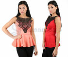WOMENS SLEEVELSS BODYCON MINI DRESS LADIES LACE NECKINE PEPLUM PARTY TOP  8-14