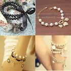 New Lot Imitated Pearl Beads Rope Letter Heart Rhinestone Stretchy Bracelets