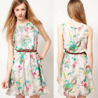 hot  Women's Sleeveless with belt Floral lovely Slim Mini Dress 4 Size XS~L