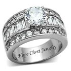 Women's Stainless Steel Round CZ & Baguette Sides CZ Engagement Ring SIZE 5-10