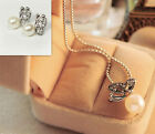 Popular small women new butterfly pearls necklaces and earrings