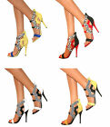 WOMENS CUT OUT PEEP TOE STILETTO HIGH HEEL ANKLE STRAPPY SHOES SANDALS SIZE PROM