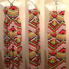 NWT MLLE GABRIELLE Strapless Smocked Jersey Knit Maxi Dress w/Bead Necklace Tie