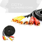3 RCA Gold Plated Composite Extension Audio Video AV Cable 6FT 12FT 15FT 25FT