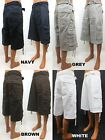 Men's MEMBERS PROPERTY white brown grey white cargo shorts with belt MPP-302B