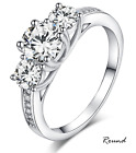 Ladies 925 Sterling Silver Trilogy Engagement Wedding Ring Band-2Ct Diamond Look