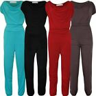 Womens Cap Sleeve Long Plus Size Jumpsuit Gathering Cowl Neck Playsuit 14-28