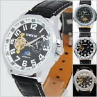 UY13 Semi Auto Mechanical Day-Night Balance Wheel Tourbillion Leather Watch +Box