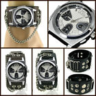 UK0717 Punk Steel Analog Deluxe Watch Rock Men/Lady Ring+Chain Leather Band