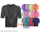 LADIES WOMENS CROCHET KNITTED SHORT SLEEVE SHRUG BROOCHED CARDIGAN CROP TOP 8-14