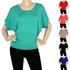 IRON PUPPY Dolman Modal BoatNeck S/Slv BatWing Loose Fit Silky Top Blouse Shirts
