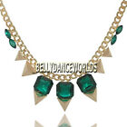GOLDEN CHAIN CHUNKY PUNK SPIKE TAPER RIVET FAUX GEMSTONES PENDANT BIB NECKLACE