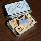 New Box of 7 Rubber Stamps Messenger I Love Thank You Crafts Scrapbook Card DIY