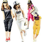 New Women Summer Casual Tracksuit Sport Running Sweat Suit Short Coats Trousers