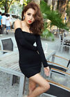 Hot New Fashion A Word Sexy Off-The-Shoulder Tight Black Dress Beautiful Dress