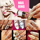 UK Silver/Gold Gothic Punk Finger Tip Diamante Nail Art Claw Finger Ring Fashion