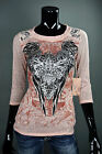 """BKE ANGELS AND DIAMONDS SHIRT """"DUSTY PINK FLEUR"""" AT THE BUCKLE SINFUL STYLE *034"""