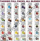 TASSIMO T-DISCS FULL PACKS, ALL BLENDS INC COFFEE PODS, HOT CHOCOLATE, TEA