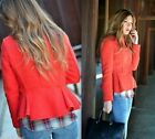 ZARA RED WOOL BLAZER JACKET WITH FRILLY WAIST SIZE XS_S_M_L_XL