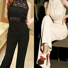 Sexy OL Lace Chiffon Pearl Halter Cocktail Evening Party Trouser Romper Jumpsuit