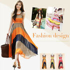 New Women's Sleeveless Summer Bohemia Rainbow Dress  Ankle-Length WQL561
