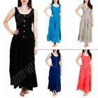 New Womens Ladies 5 Button Summer Boho Style Cotton Linen Maxi Dress Size M L XL