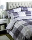 DUVET SET DENIM BLUE TARTAN  3 SIZES.NEXT DAY DELIVERY