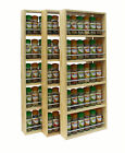 SOLID PINE SPICE RACK 5 SHELVES KITCHEN WORKTOP WALL MOUNTED WOODEN JAR STORAGE
