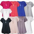 New Ladies Plus Size Beaded Necklace Frill Gypsy T-Shirt Tunic Tops 12-22