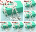 Wholesale Lady Men's Jewellery 10pcs 1mm Sterling 925Silver Snake Chain Necklace