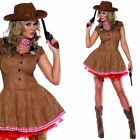 Ladies Cowgirl Fancy Dress Costume + Scarf – Womens Wild West Western Outfit