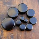"Pair of Black Obsidian Organic Stone Plugs Gauges Ear 8g 6g - 1/2"" - 1"" -1 sizes"