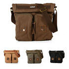 Jeansian Mens Vintage Canvas Double Pockets School Shoulder Messenger Bag BG026