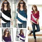 Hot Women Fashion Long Sleeve Lady's Batwing Casual T-Shirt Stripe Blouse Tops
